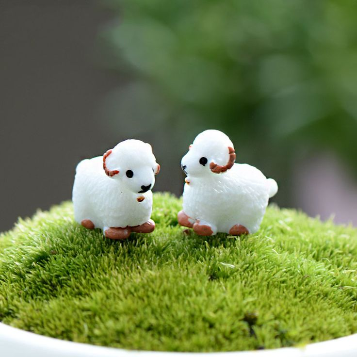 2Pcs Cute Mini Kawaii Cabochons Sheep Goat Resin Figurines Miniature Animal Micro Landscape Fairy Garden Terrarium Accessories #Affiliate