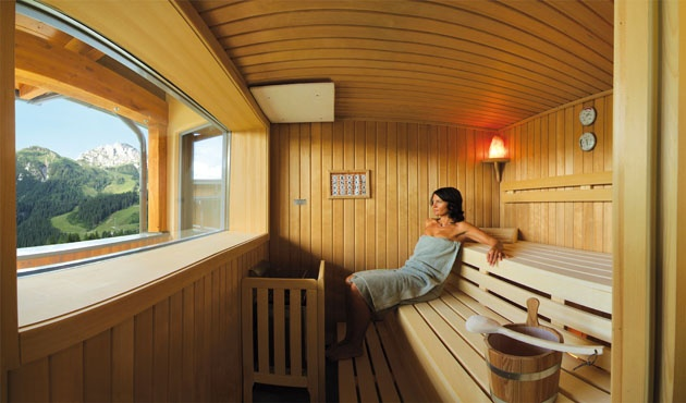 Panorama Sauna in the spa area http://www.gartnerkofel.at/en/wellness-spa/realm-of-the-senses.html