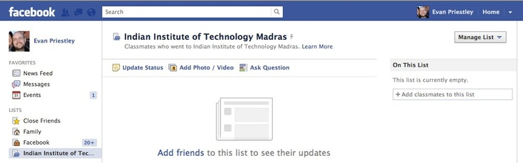 """(September 2011) Facebook created an """"Indian Institute of Technology Madras"""" smart friends list for me, listing my classmates at Indian Institute of Technology Madras. I have never attended Indian Institute of Technology Madras.: Attended Indian, Production Bugs, Www Bidus Eu Facebook, Facebook Production, September 2011, Facebook Created"""