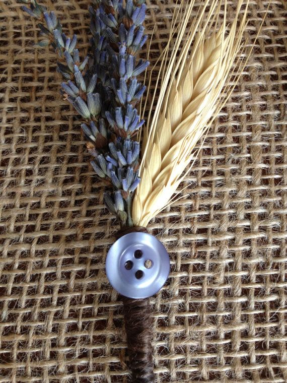 Handmade Wedding Corsages - lavender, blond wheat, brown twine, lavender button, country rustic vintage, variations available