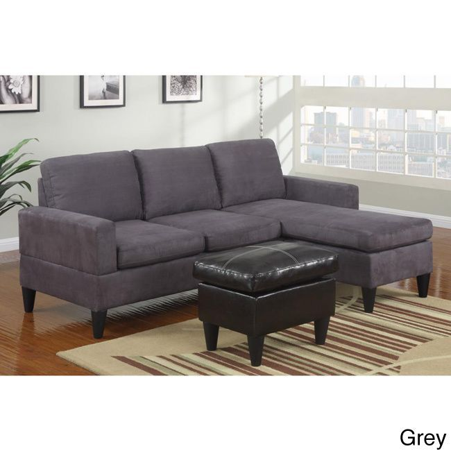 Good Poundex Hesse Reversible Sectional Sofa in Microfiber Finish with Ottoman