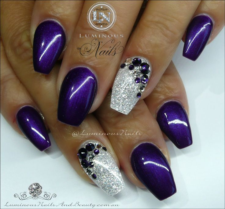 Purple & White...   Sculptured Acrylic with GellyFit Australia  Fall/Winter FW143, Young Nails Sea Spray Glitter, Purple Violet Swarov...