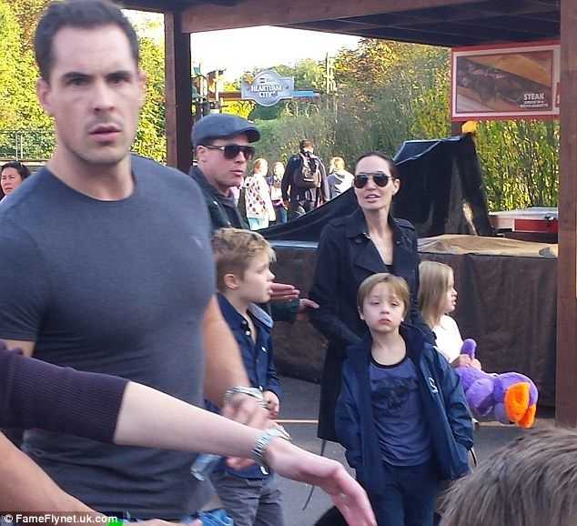 Family outing: Also in tow were Brad and Angelina's children Maddox, age 15, Pax, aged 12, Zahara, aged 11, Shiloh, aged 10, and twins Vivienne and Knox, aged eight