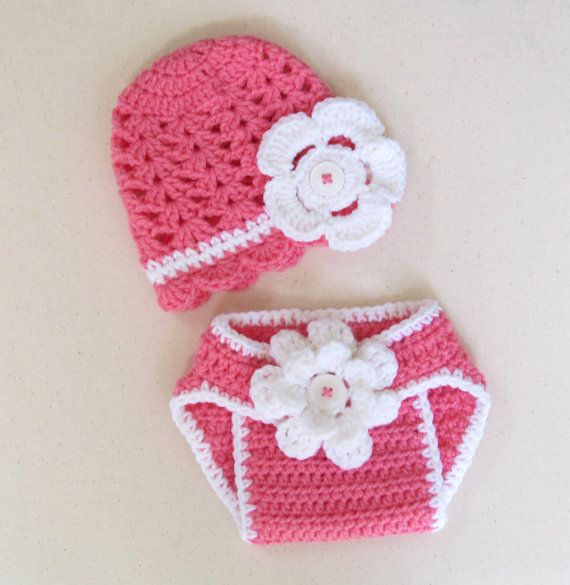 Crochet baby summer hat and diaper cover