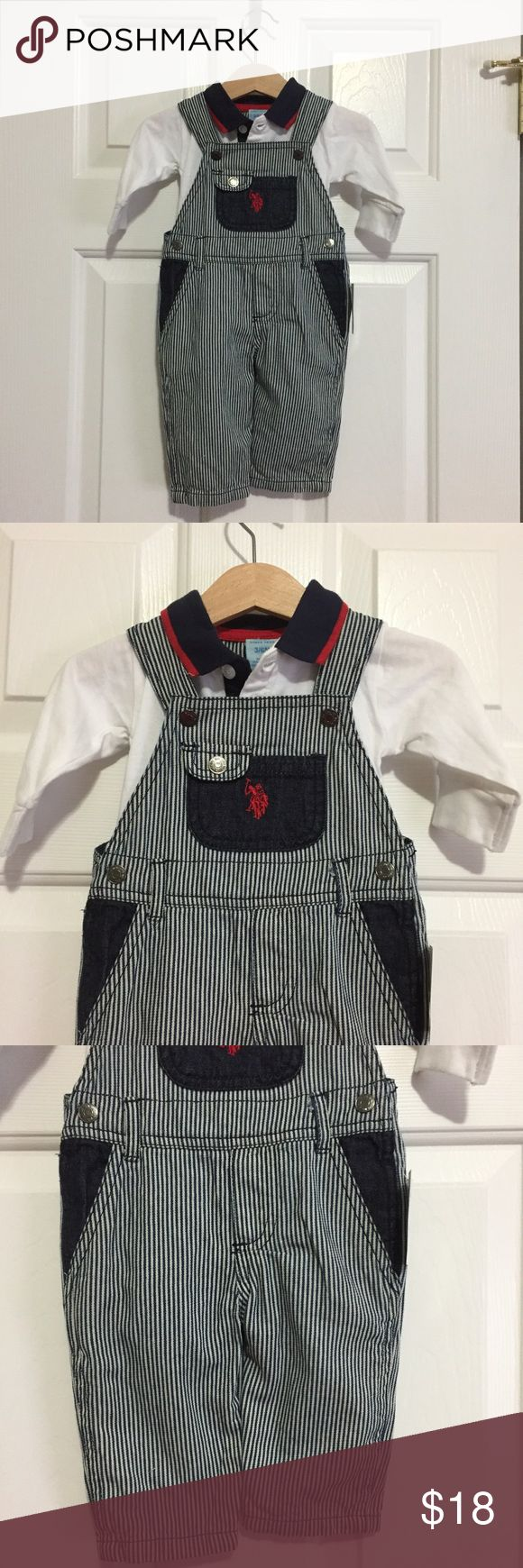 US Polo collared onesie and overalls Matching 2-piece set by US Polo Association. Collared onesie in white, navy blue, and red with matching navy blue and white striped overalls. Overalls have side pockets and rear pockets for anything your little guy wants to hold onto. Snaps at waist and at shoulders (2 snap sizes for shoulder straps). This was NWT and I cut the tags off the onesie before realizing it won't fit my little guy :(. Never worn, I have the tags for the onesie and tags are still…