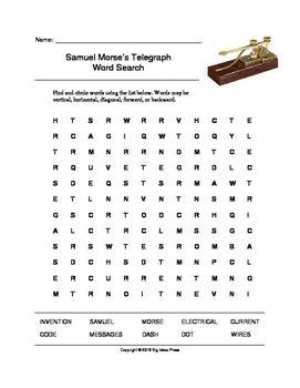 Samuel Morse's Telegraph Word Search (Grades 3-5) at #teacherspayteachers