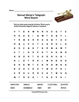 Samuel Morse's Telegraph Word Search (Grades 3-5) at #teacherspayteachers