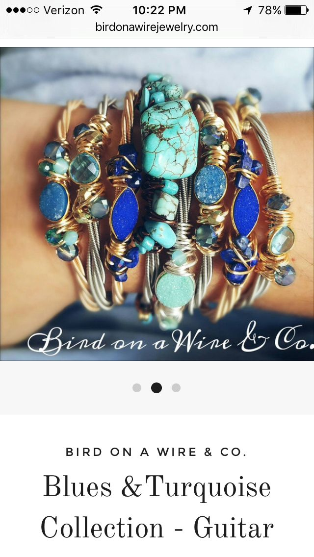 Awesome guitar string jewelry! So creative! http://birdonawirejewelry.com/collections/guitar-strings/products/stackable-guitar-string-bangle-blue-turquoise