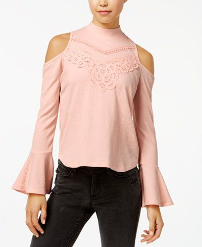 American Rag Juniors' Mock-Neck Cold-Shoulder Crepe Top, Created for Macy's