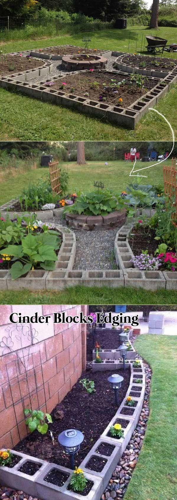 Line Your Garden Beds with Cinder Blocks  #raisedgarden #gardenbed #gardenedging #Gardendesign
