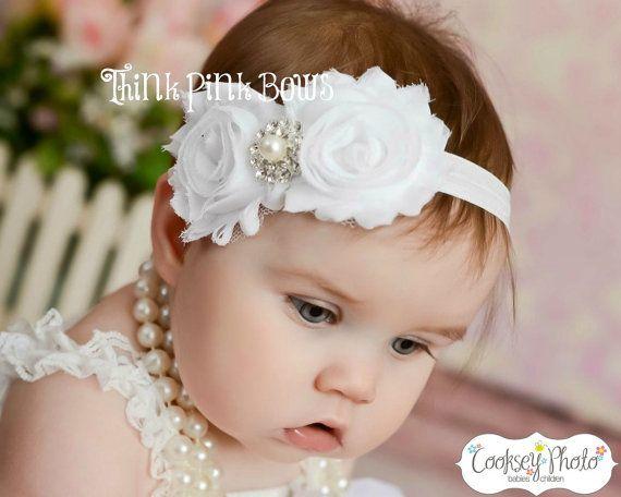 Baby Headband, White Headband,Christening Headband, Baptism Headband,Newborn Headband,Baby girl Headband,Shabby chic Headband,Baby Bows.