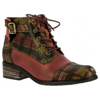 In this red and tartan combination, they look great on the foot and feel good too! Featuring a side zip and 5 eyelet lace design for an easy and secure fit, they boast comfortable padding and a flexible, treaded sole to keep you comfy all day.  https://www.marshallshoes.co.uk/womens-c2/laura-vita-womens-alice-16-rouge-lace-up-heeled-ankle-boots-p5223