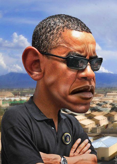 Barack Obama - Caricature by DonkeyHotey, via Flickr