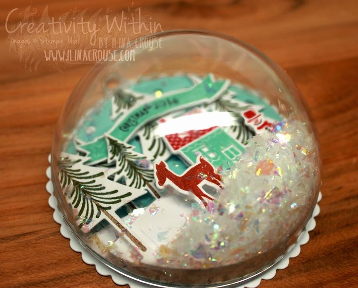 Snow Globe Ornament. Half dome mounted on flat back with paper diorama inside, glitter snow.