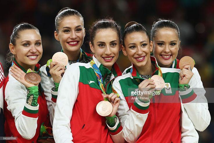 Bronze medalists Reneta Kamberova, Lyubomira Kazanova, Mihaela Maevska, Tsvetelina Naydenova and Hristiana Todorova of Bulgaria celebrate during the medal ceremony following the Group All-Around Final on Day 16 of the Rio 2016 Olympic Games at Rio Olympic Arena on August 21, 2016 in Rio de Janeiro, Brazil.