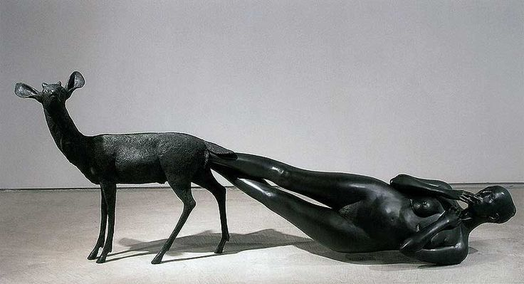 Artist: Kiki Smith   shows a human emerging from the body of an animal; recalling the veneration of animals in some religions.   #BID #BIDTucson #BeforeIDieUA