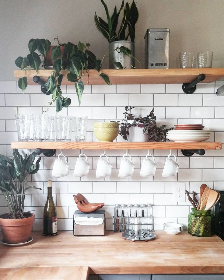 Natural Wood Shelves (LoVE The Wall Mounts) / Subway Tile W/ Gray Grout To  Tie In The Cabinet Color / Butcher Block Counter To Tie In Shelves.