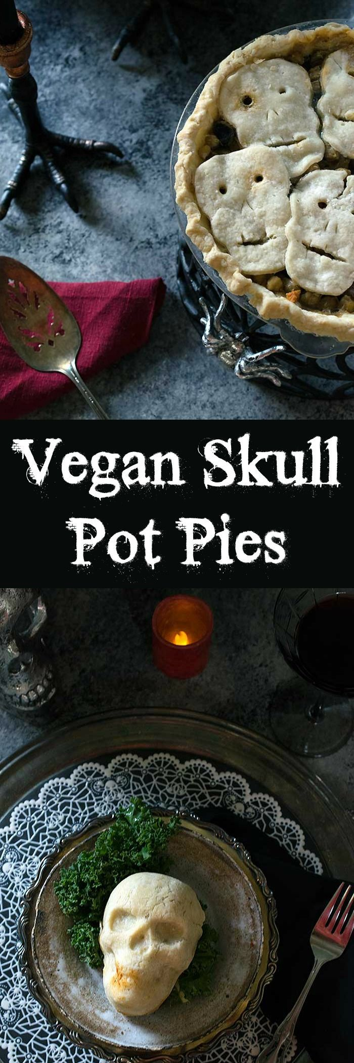 Spooky Skull Vegan Pot Pies for a Haunted Halloween Dinner. Plus you send your kids off trick or treating full of veggies!