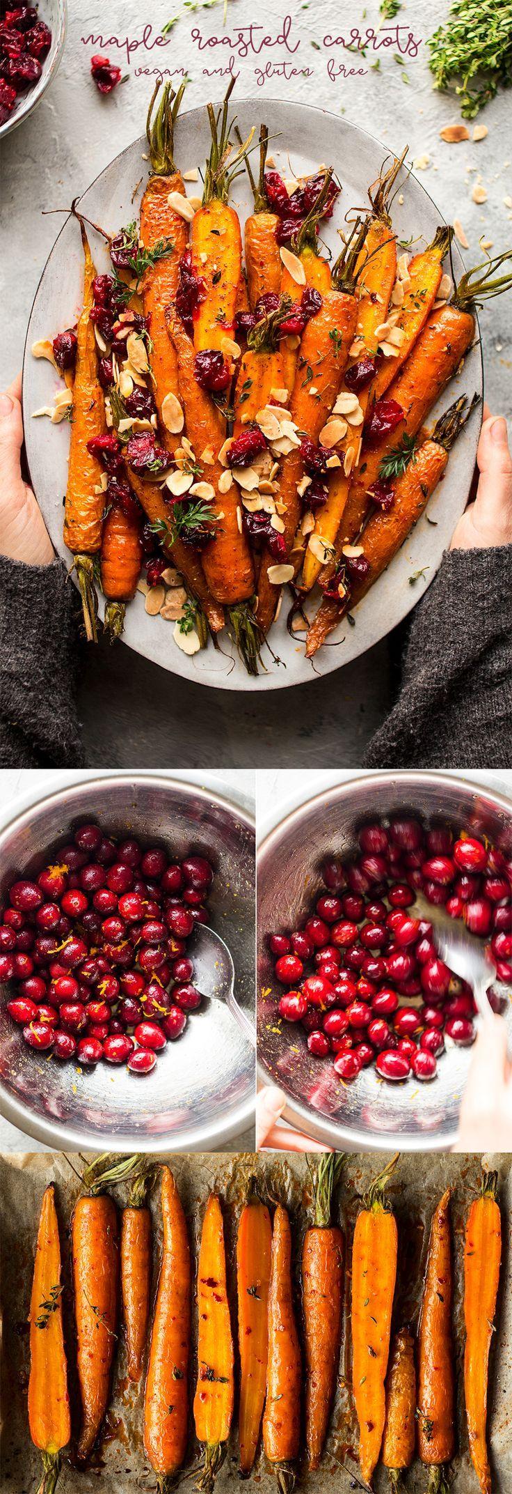 Ahorn gebratene Karotten und Preiselbeeren