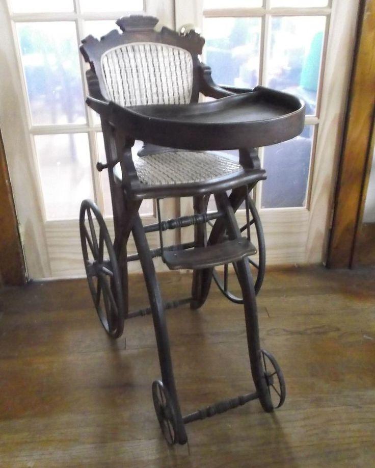 Antique 1875 Walnut Highchair Stroller Convertible Rare East Lake & Haunted #Victorian