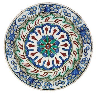 An Iznik pottery dish. Ottoman Turkey, circa 1590. Photo Christie's Image Ltd 2010