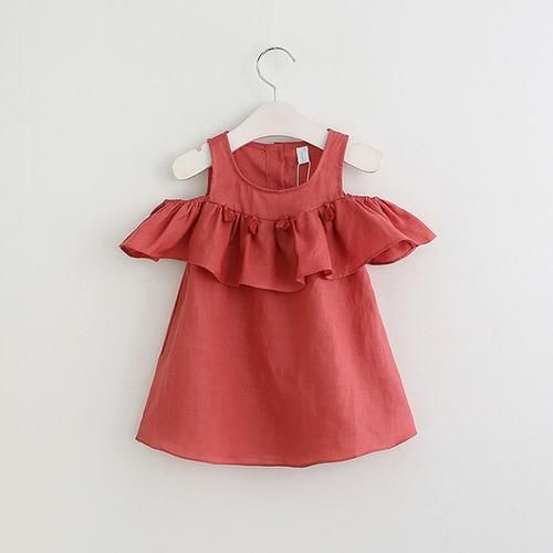 WILLOW Tassel Lotus Ruffles Neckline Cold-Shoulder Dress Melon Red