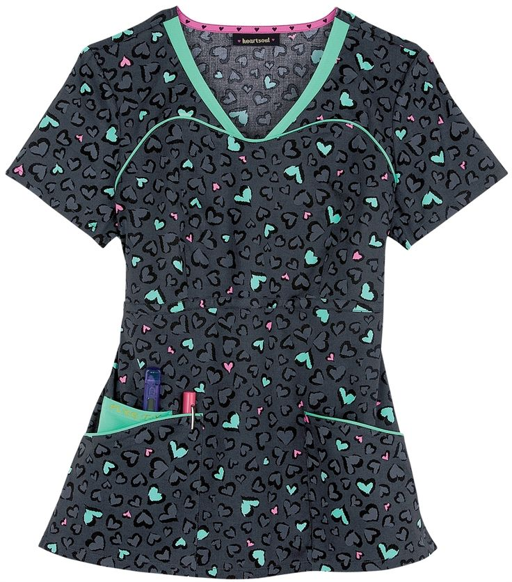 Valentine's Day Nursing Scrubs - Heartsoul Tame My Wild Heart Contrast Scrub Top