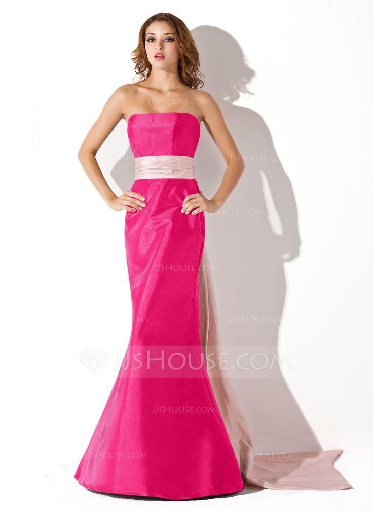 Trumpet/Mermaid Strapless Floor-Length Sash Zipper Up Strapless Sleeveless No Black Fall Winter General Plus Taffeta Bridesmaid Dress