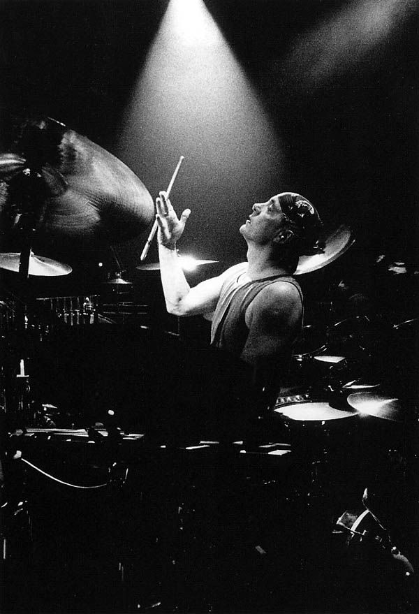 """A moment caught in time.  Neil Peart during the 1992 """"Roll The Bones"""" Tour"""