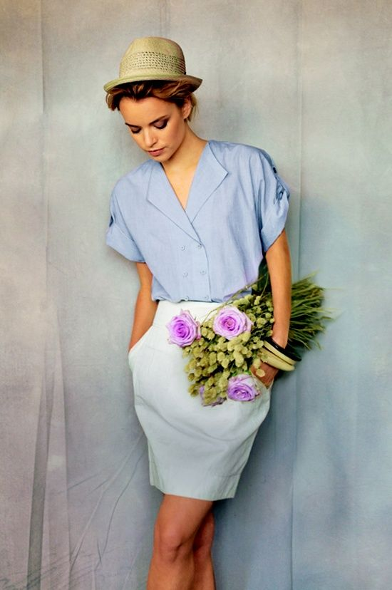 #summer #spring #fashion #style #inspiration #love #outfit #flowers #white #skirt #blue #shirt #hat #trends #2013