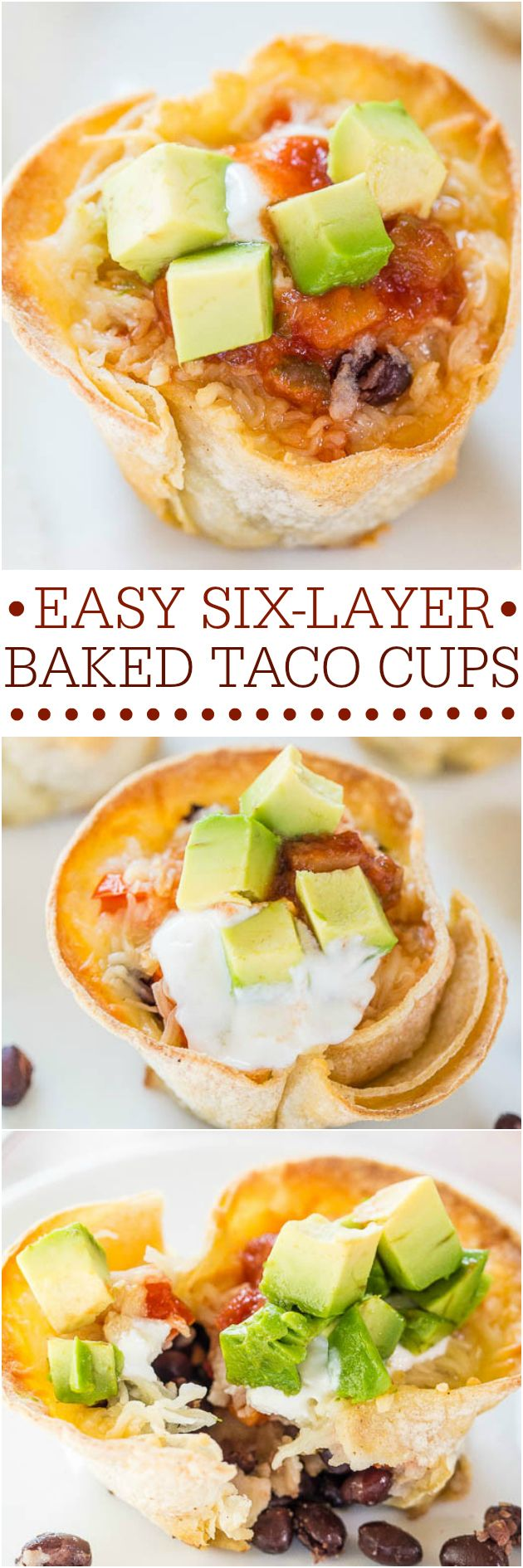 Easy Six-Layer Baked Taco Cups - Fast, easy, and accidentally healthy! Your favorite taco fixings in individually-portioned cups!! So fun!!!