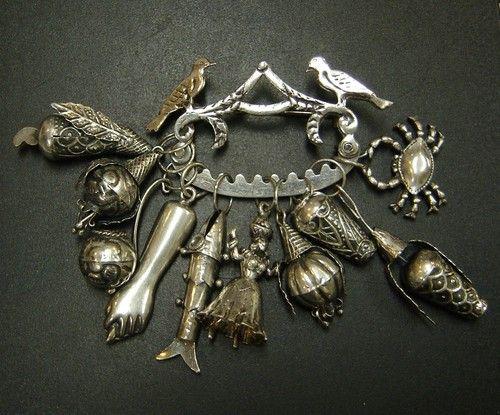 Brazillian Penca de Balangandan Silver Pin w 10 Symbolic Fortune Charms | eBay