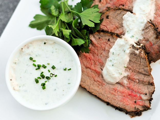 Though mostly a steak purist—that's salt, pepper, and beef only—I've been know to dabble in toppers here and there (with the exception of steak sauce). Horseradish cream sauce is a rather new one for me, but while prepping a roast beef, it was that came to mind, plus it was a great use of my leftover homemade horseradish from last week.