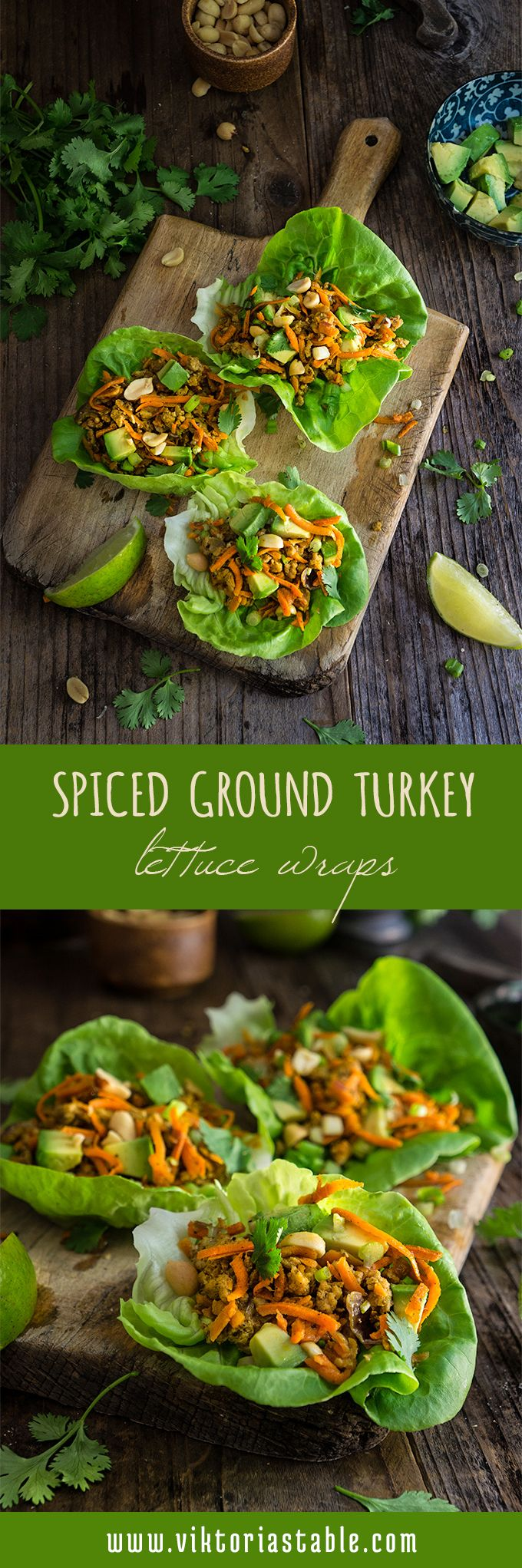 Spiced ground turkey lettuce wraps - a quick and healthy weeknight meal, one of…