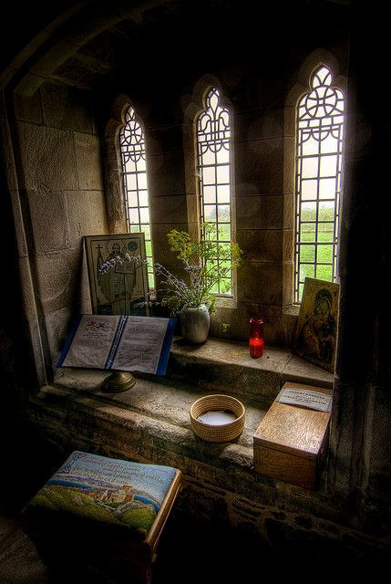 A quiet room in the Iona's Abbey in Scotland (Isle of Mull)
