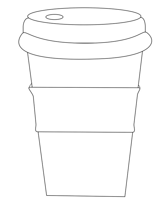 "Coffee cup with sleeve (use ""circle words"" to decorate) (at website)"