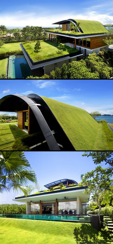 6 ejemplos de arquitectura sostenible con tejados verdes for Casa moderna tunisie