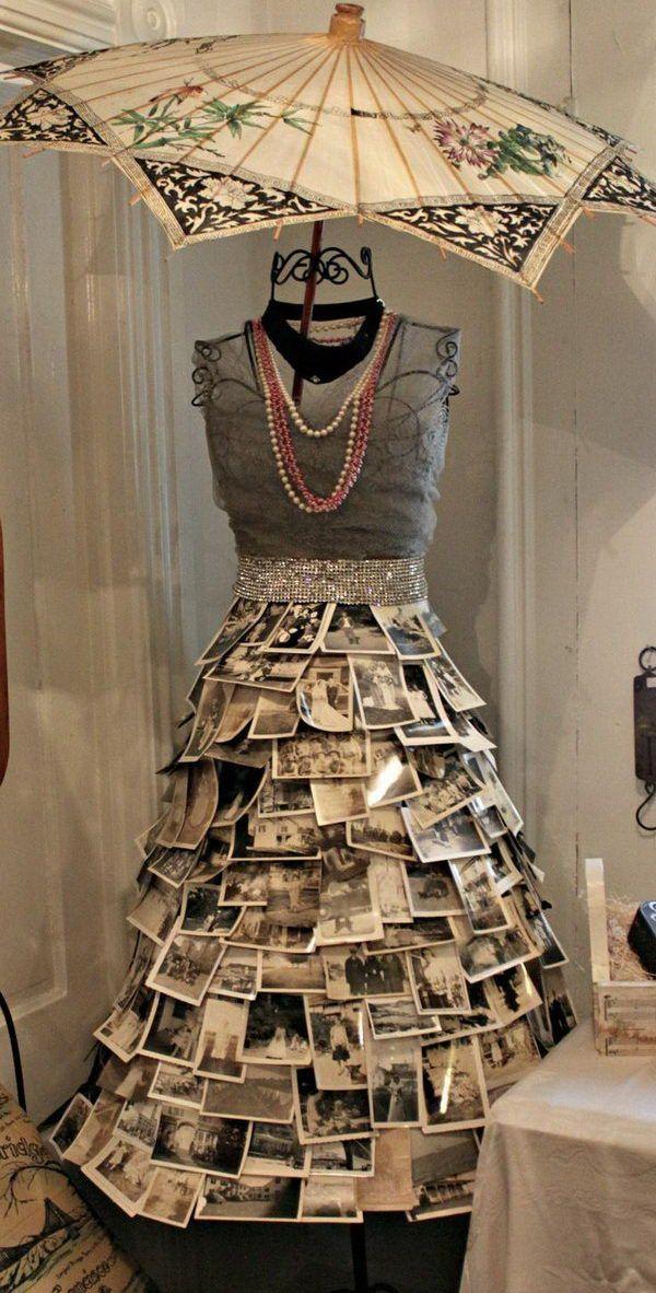Vintage Photo Skirt, Creative DIY Photo Craft Ideas, http://hative.com/creative-diy-photo-craft-ideas/,
