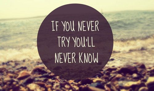 Quote: If you never try you'll never know