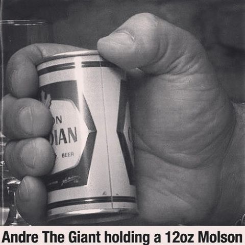 Andre the Giant holding a Molson Beer.