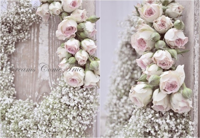 Krans van gipskruid en rozen