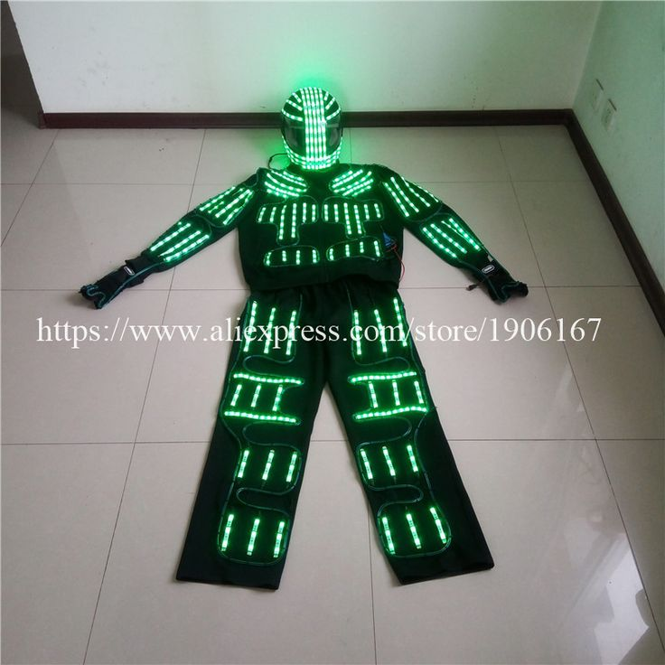 RGB LED Costume LED Clothing el wire costumes LED Robot suits david with remote control