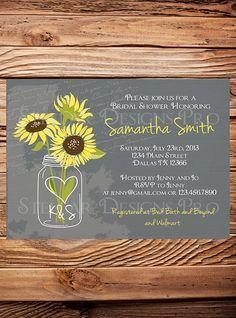 Sunflowers Mason Jar Bridal Shower Invitation, Vintage Mason Jar Invitation, Gray, Brown, Mason Jar, Sunflower, Wedding Shower (6172) @lexi Hershberger