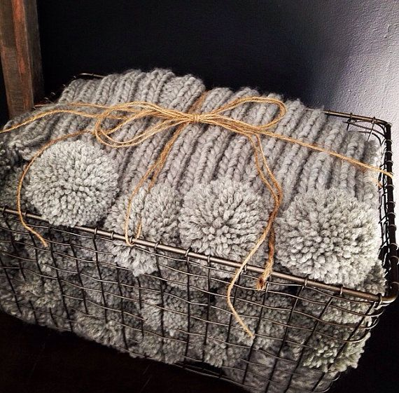 Chunky Gray Knit Blanket With Large Pom Poms By