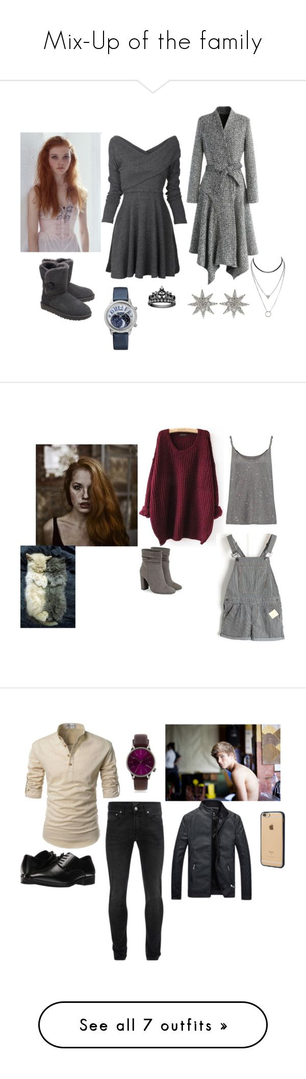 """""""Mix-Up of the family"""" by sungazing ❤ liked on Polyvore featuring Chicwish, UGG, Bee Goddess, Current/Elliott, JustFab, Alexander McQueen, Stacy Adams, Topman, Incase and men's fashion"""