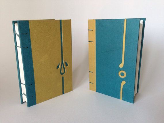 Coptic bound sketchbook with beveled chevron text block and correlating…