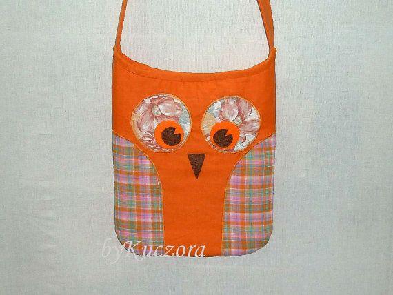 Owl bag, tote, recycled bag, shoulder bag, cross body bag, orange