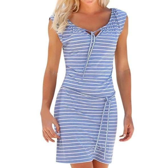 4b8a30d32ae70 FEITONG Stripe Bandages Dress Women Short Sleeve V-Neck Mini Dresses ...