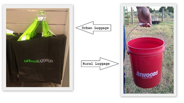 """When I saw the """"urban luggage"""" bags, I had to make this pic.Small Town, Luggage Bags, Funny Stuff, Urban Luggage"""