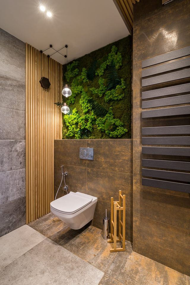 Wooden Panels Batten Plank And Moss Stabilized Featured In Bathroom Interior Minimalist Bathroom Design Bathroom Wall Panels Stylish Bathroom